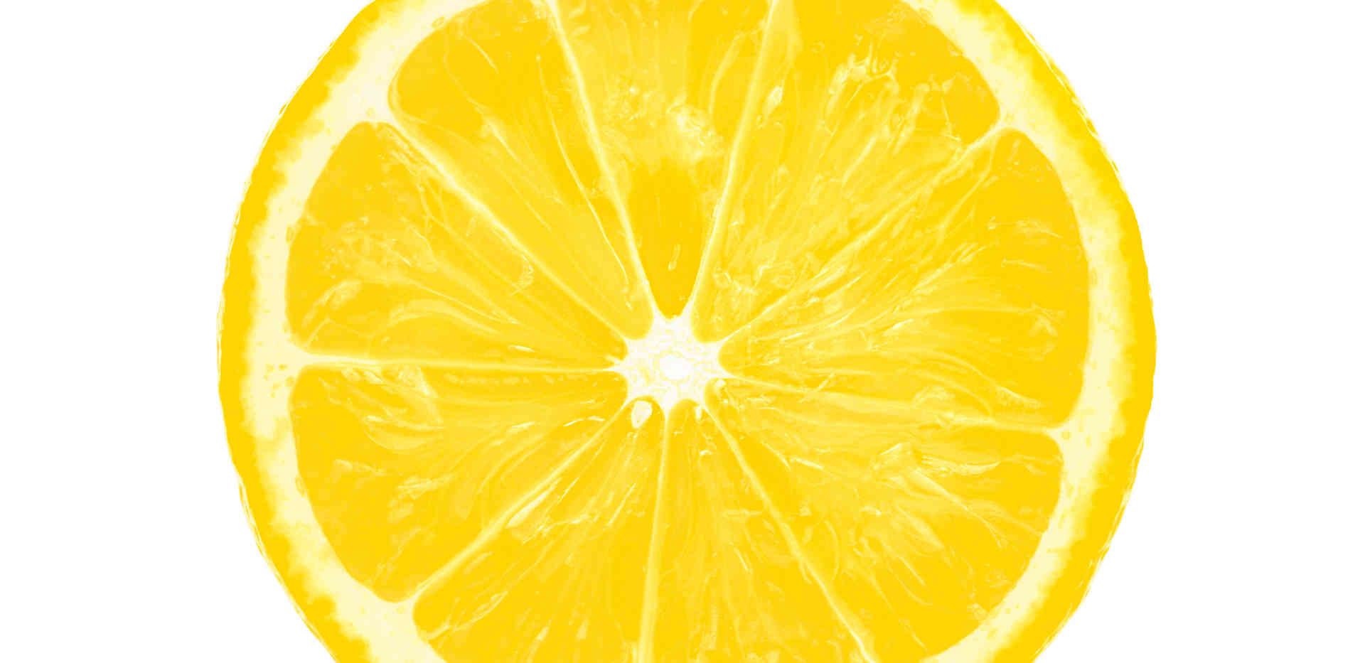 lemon slice half cut isolated on white b