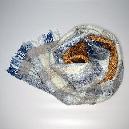 Indigo silk and alpaca scarf