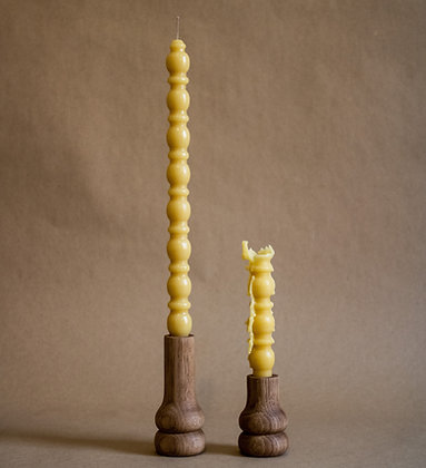Short Rounded Beeswax Candle
