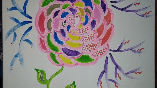 Tableau peinture acrylique Vata, fleur coeur