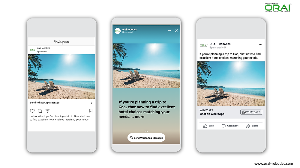 Click to WhatsApp Ads on Instagram Post ,Stories and Facebook to get best hotels deals for your trip using whatsApp channel through ORAI Portal