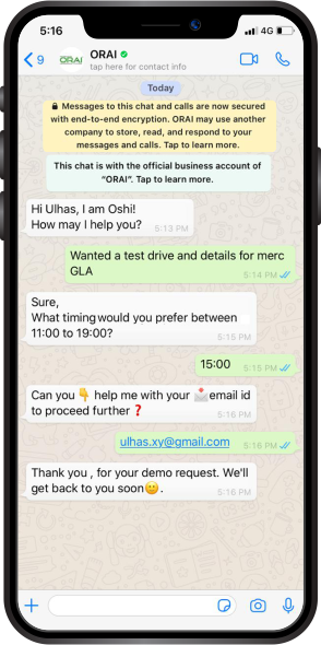 WhatsApp Chat with a business-specific AI chatbot