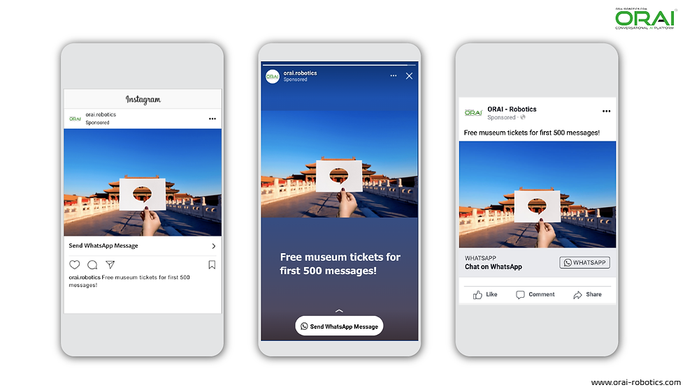 Click to WhatsApp Ads on Instagram Post ,Stories and Facebook for giving discounts on tickets using whatsApp channel through ORAI Portal