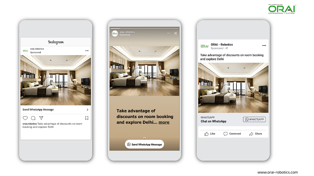 Click to WhatsApp Ads on Instagram Post ,Stories and Facebook for getting discounts on hotel bookings using whatsApp channel through ORAI Portal