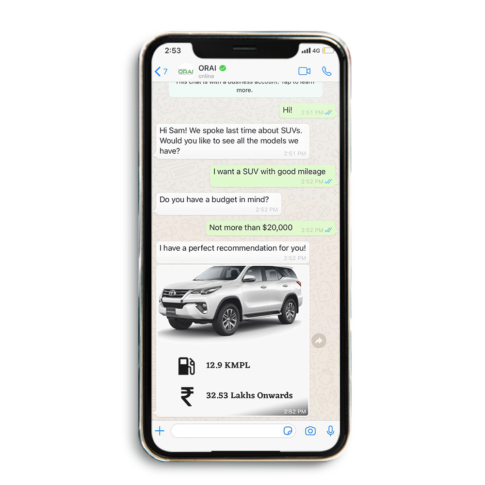 ORAI Chatbot - Chat between the customer and Chatbot for car model