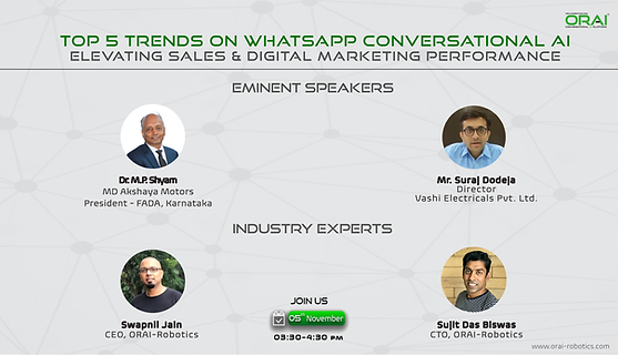ORAI Webinar on Whatsapp Conversational AI for elevating Sales and Marketing Performance
