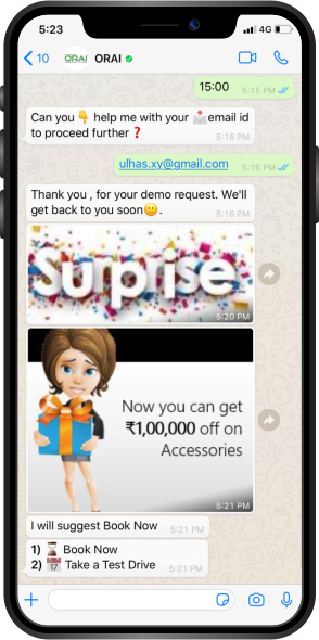 WhatsApp Chat with discount offers on products and services with drip campaigns