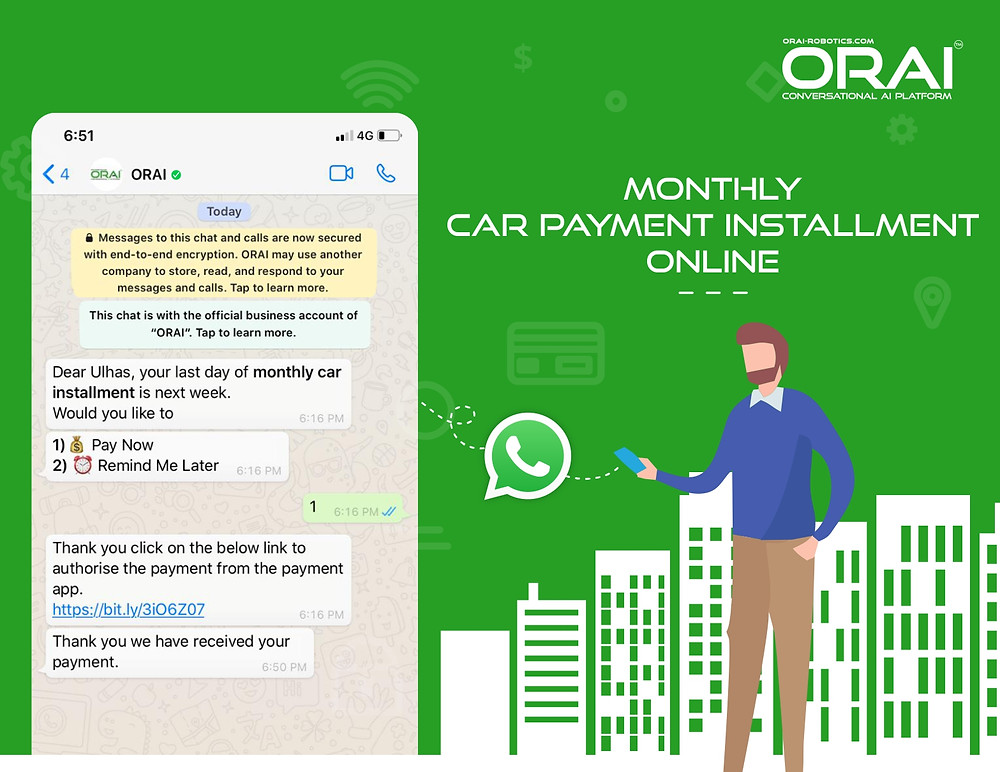 Monthly Car Payment Installment Notification Online  over Verified WhatsApp Business Account