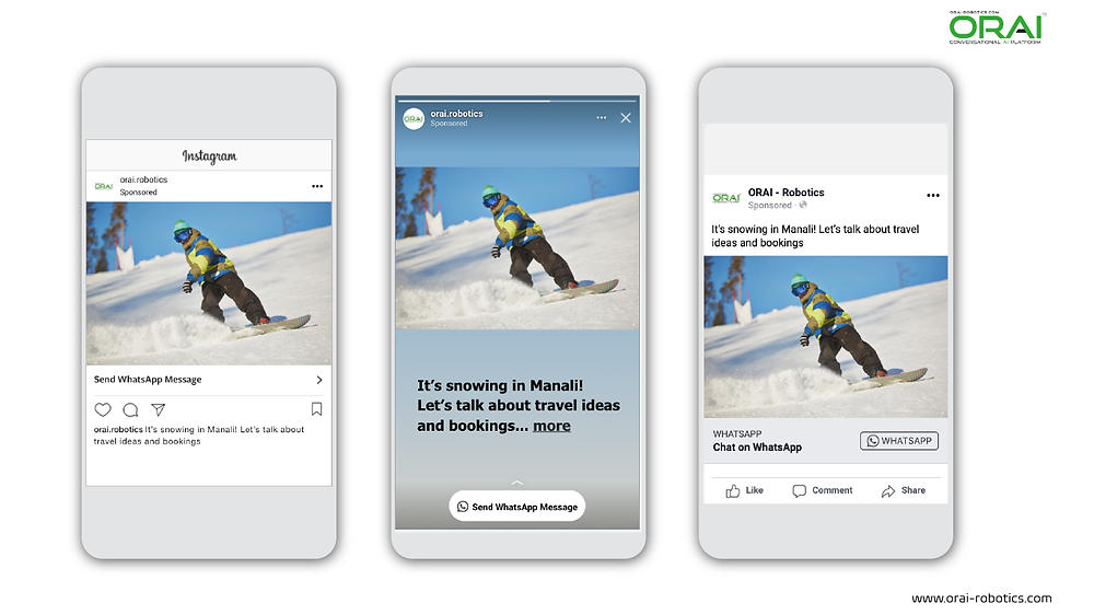 Click to WhatsApp Ads on Instagram Post ,Stories and Facebook for showcasing particular destinations using whatsApp channel through ORAI Portal