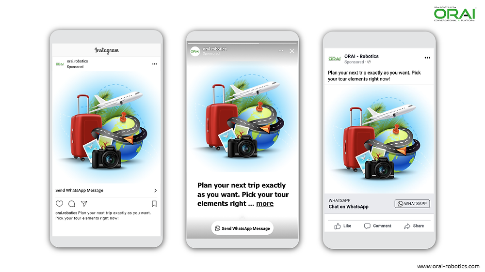 Click to WhatsApp Ads on Instagram Post ,Stories and Facebook for planning your next trip using whatsApp channel through ORAI Portal