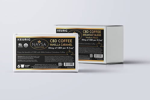 Coffee K-Cups with 30mg CBD per cup (6 ct.) •Flavor: CBD K Cup Breakfast Blend