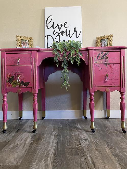 Pink Antique Desk