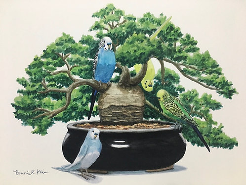 Parakeets and baobab bonsai print