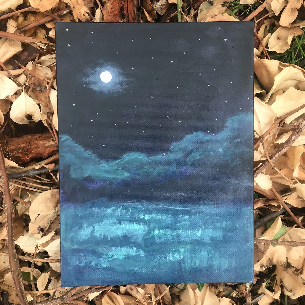 night painting full moon
