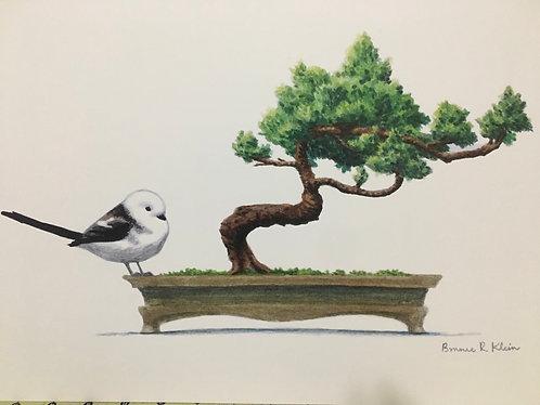 Long-tailed tit and bonsai print