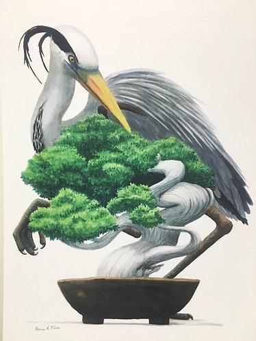 Heron and bonsai print