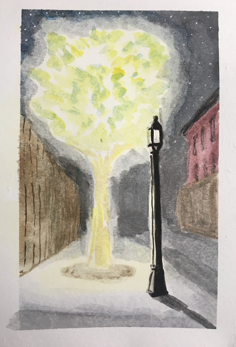 see the lamppost by the light of the tree