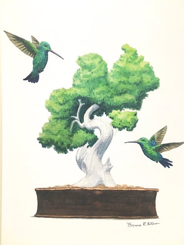 Hummingbirds and bonsai print