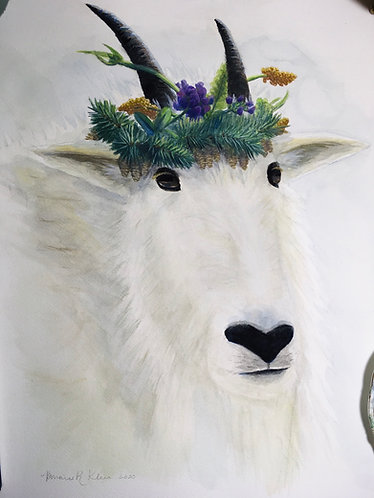Rocky mountain goat with nature crown
