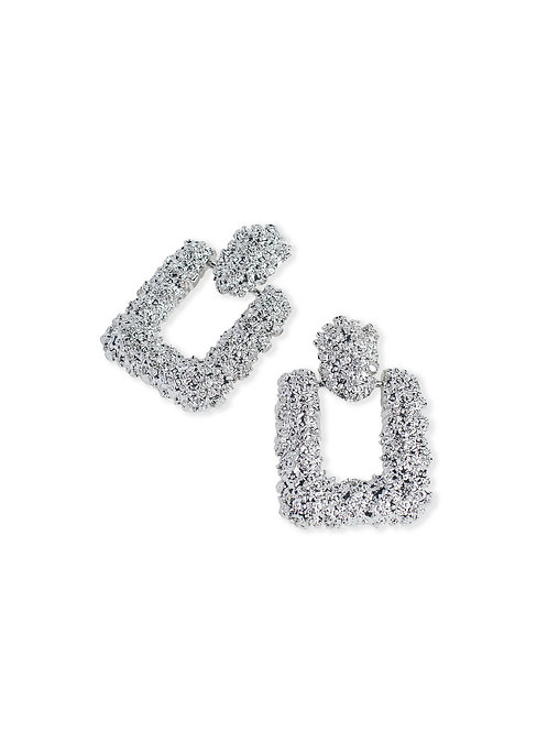Mia Embossed Earrings - Silver