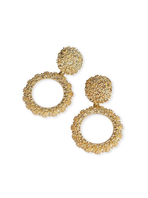 Luna Embossed Earrings - Gold