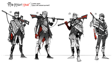 More refined sketches of a sniper (after drawing the thumbnails)