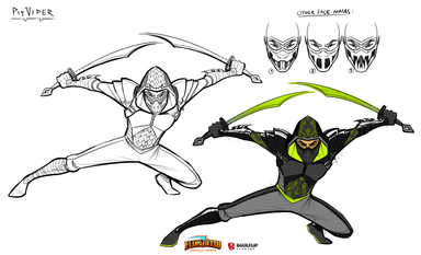 'Pit Viper' rough lineart, color, and face mask ideas