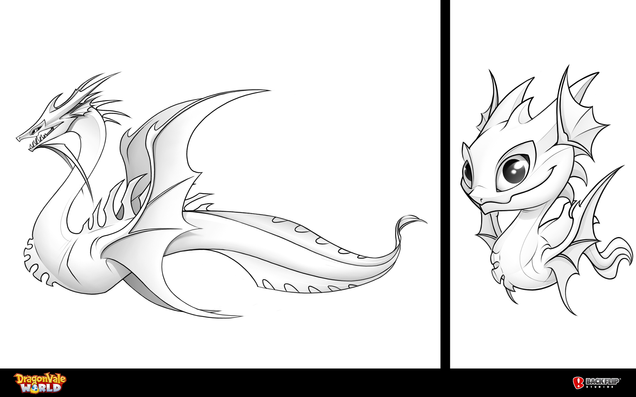 Left is Linework and simplistic grayscale before color. Baby Leviathan is on the right