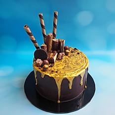Chocolate and Gold Drip cake