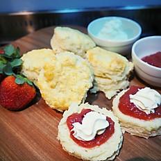 Buttermilk scones with homemade strawberry jam