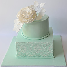 Peony and Lace Two Tier Cake