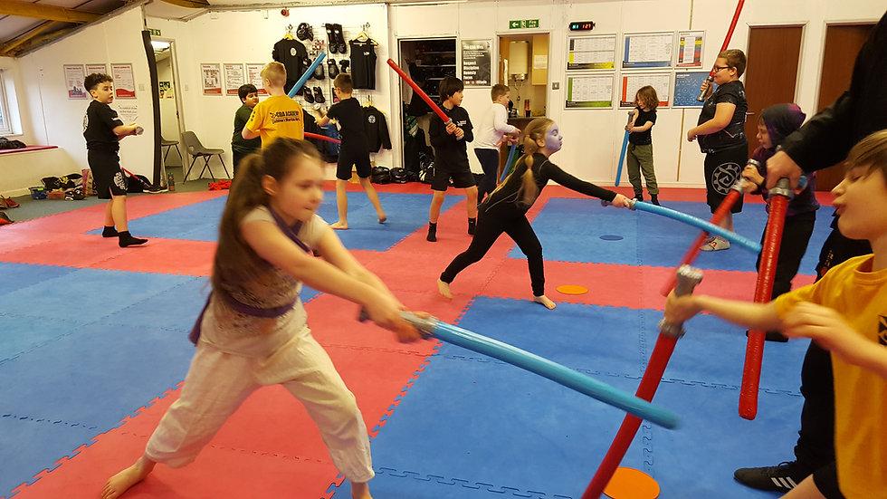 Jedi battle at a childrens part