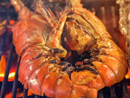red spiny lobsters grill with flames clo