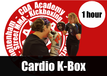 Cardio K-Box a kickboxing fitness class for adults in Cheltenham.