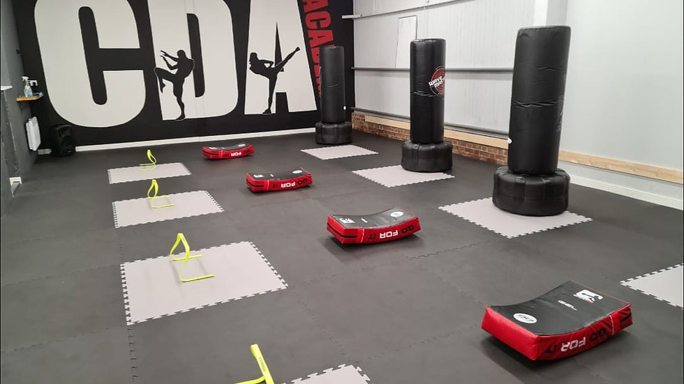 Downstairs martial arts traiing area at CDA Academy Chltenham