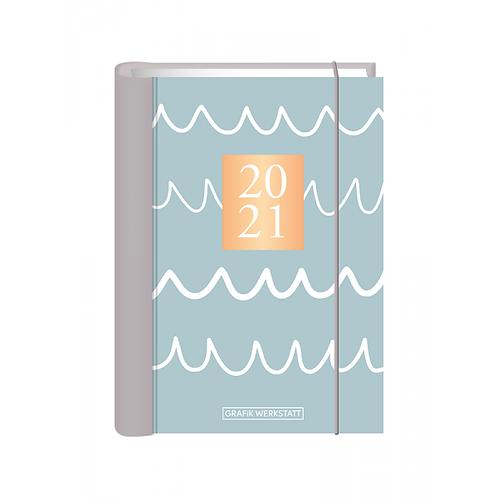 "Grafik Werkstatt Terminplaner A6 ""Wellen"" - Hardcover"