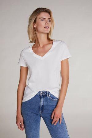 Oui - T-Shirt mit V-Ausschnitt - Weiß