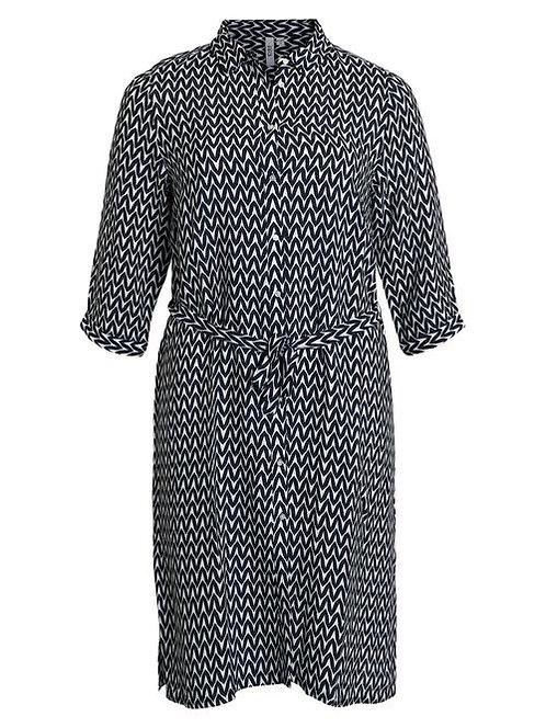 Ciso - Kleid mit grafischem Muster - Blau