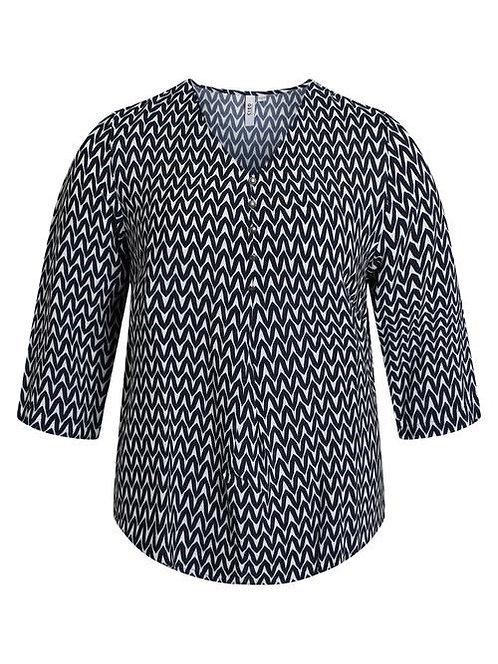 Ciso - Bluse mit grafischem Muster - Blau