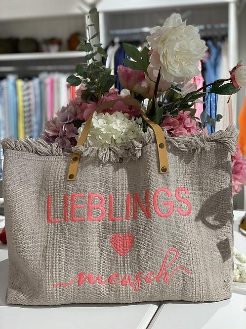 "Shopper / Strandtasche ""Lieblingsmensch"" - Dunkelbeige/Koralle"