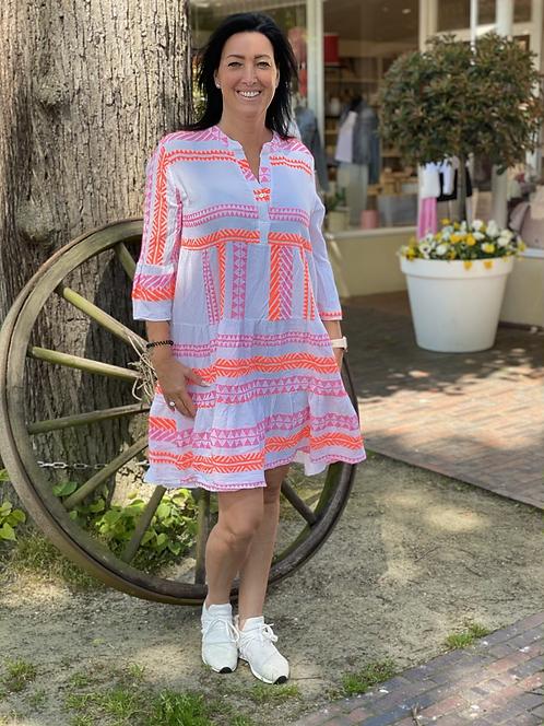Tolles Sommerkleid mit Muster in Neonfarben - Pink/Orange