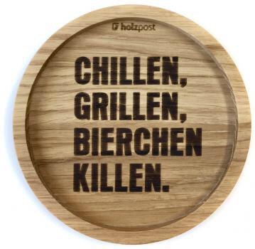 Holzpost - Untersetzer aus Eichenholz - Chillen