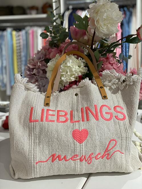 "Shopper / Strandtasche ""Lieblingsmensch"" - Hellbeige/Koralle"