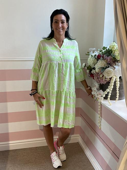 Tolles Sommerkleid mit Muster in Neonfarben - Grün