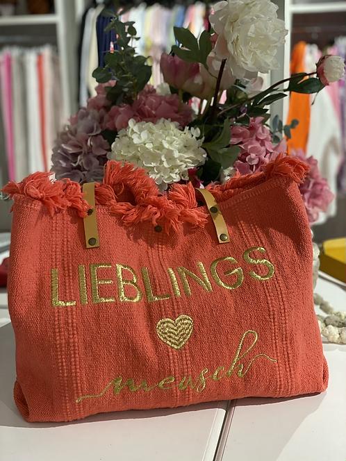 """Shopper / Strandtasche """"Lieblingsmensch"""" - Koralle/Gold"""