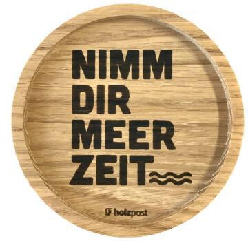 Holzpost - Untersetzer aus Eichenholz - Meer Zeit
