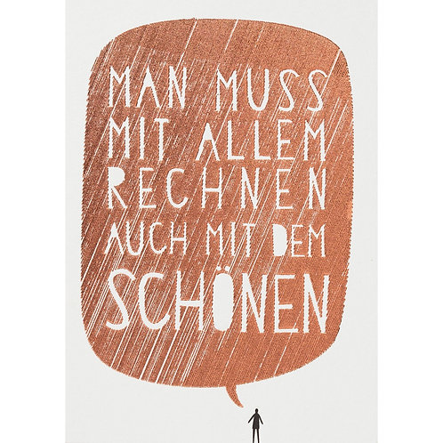"""Postkarte von Räder """"Man muss mit allem rechnen…"""""""