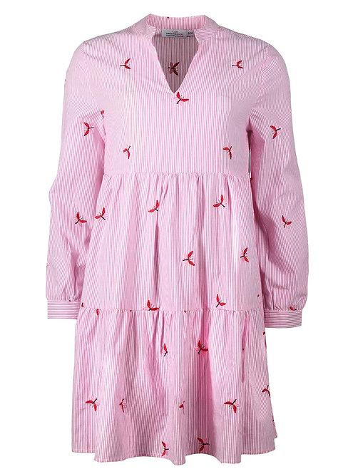 Zwillingsherz - Gestreiftes Tunikakleid mit Schmetterlingen - Pink