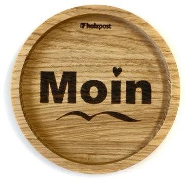 Holzpost - Untersetzer aus Eichenholz - Moin Herz