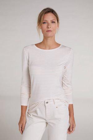 Oui - Basic-Shirt mit Streifen - Weiß/Rosa